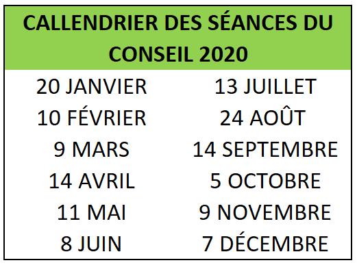 Date Des Séances 2020